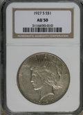 Peace Dollars: , 1927-S $1 AU50 NGC. NGC Census: (41/2643). PCGS Population(24/3915). Mintage: 866,000. Numismedia Wsl. Price for NGC/PCGS ...