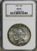 Peace Dollars, 1927 $1 AU53 NGC. NGC Census: (16/3056). PCGS Population (25/4832).Mintage: 848,000. Numismedia Wsl. Price for NGC/PCGS co...