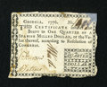 Colonial Notes:Georgia, Georgia 1776 $1/4 Very Fine-Extremely Fine, damaged. ...
