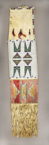 American Indian Art:Beadwork and Quillwork, A SIOUX BEADED AND QUILLED HIDE TOBACCO BAG. c. 1890. ...
