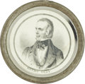Political:Ferrotypes / Photo Badges (pre-1896), Henry Clay: Rare and Sought-after Pewter Rim Campaign Badge from1844....