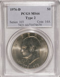 Eisenhower Dollars: , 1976-D $1 Type Two MS66 PCGS. PCGS Population (667/22). NGC Census: (217/9). Mintage: 82,179,568. Numismedia Wsl. Price for...
