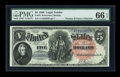 Large Size:Legal Tender Notes, Fr. 76 $5 1880 Legal Tender PMG Gem Uncirculated 66 EPQ....