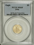 Modern Bullion Coins: , 1994 G$5 Tenth-Ounce Gold Eagle MS69 PCGS. PCGS Population (845/6).NGC Census: (1710/446). Mintage: 206,380. Numismedia Ws...