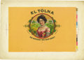 Antique Stone Lithography:Cigar Label Art, El Tolna Large Size Cigar Inner Label Proof,...