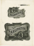 Antique Stone Lithography:Cigar Label Art, Earlington Cigar Inner Label Proof,...