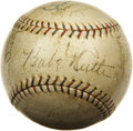 Autographs:Baseballs, 1929 New York Yankees Team Signed Baseball. Though one could arguethat, technically, the 1950's was the greatest decade in...