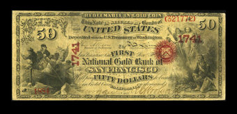 Featured item image of San Francisco, CA - $50 Original National Gold Bank Note Fr. 1160 The First National Gold Bank Ch. # 1741  ...