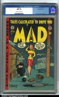 Mad #4 Gaines File pedigree 8/12 (EC, 1953). CGC NM+ 9.6 Off-white to white pages. Overstreet 2001 NM 9.4 value = $900...