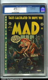 Mad #5 Gaines File pedigree 5/12 (EC, 1953). CGC NM- 9.2 White pages. Overstreet 2001 NM 9.4 value = $1600