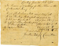 Military & Patriotic:Revolutionary War, Revolutionary War Commissary Invoice. One page, oblong 8vo,Coventry, CT, June 20, 1778. ...