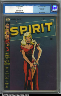 The Spirit #22 Crowley pedigree (Quality, 1950). CGC VF 8.0 Cream to off-white pages. Crowley copy. Overstreet 2001 FN 6...