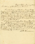 Autographs:Statesmen, New York Fire of 1835 - New York Mayor Cornelius Van Wyck LawrenceAutograph Letter Signed. ...