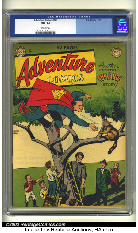 Adventure Comics #146 (DC, 1949) CGC FN+ 6.5 Off-white pages. Overstreet 2002 FN 6.0 value = $150....