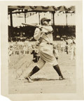 Autographs:Photos, 1930's Babe Ruth Signed Photograph. Classic image of theleft-handed swing that launched 714 long balls is printed todimen...