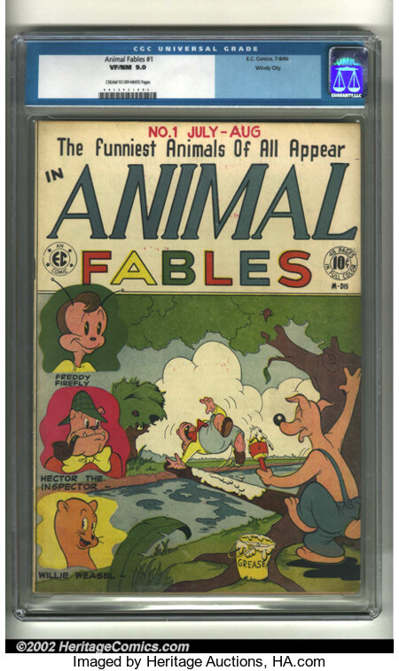 Animal Fables #1 Windy City pedigree (EC, 1946) CGC VF/NM 9.0 Cream to off-white pages. Overstreet 2002 NM 9.4 value = $450....