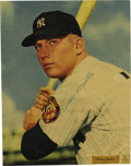 Autographs:Photos, Early 1950's Mickey Mantle Signed Magazine Photograph. The GoldenAnniversary patch on the Mick's left sleeve dates this ma...