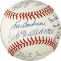 Autographs:Baseballs, 1980's Hall of Famers Multi-Signed Baseball with Williams, Mays. Seventeen flawless ink signatures here, and not a single o...