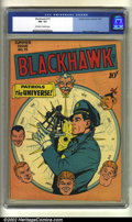 Golden Age (1938-1955):War, Blackhawk #15 (DC, 1947) CGC FN- 5.5 Off-white to white pages.Overstreet 2002 FN 6.0 value = $231....