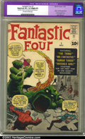 Silver Age (1956-1969):Superhero, Fantastic Four #1 (Marvel, 1961) CGC Apparent VF+ 8.5 Slight (P)Off-white to white pages. Overstreet 2002 VF 8.0 value = $8...