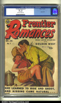 "Golden Age (1938-1955):Romance, Frontier Romances #1 (Avon, 1949) CGC VF- 7.5 Off-white to whitepages. Used in SOTI. ""Erotic spanking in a Western comic bo..."