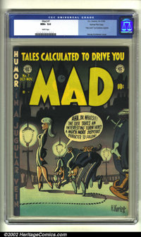 "Mad #7 Gaines File pedigree (EC, 1953) CGC NM+ 9.6 White pages. ""Hey Look!"" by Kurtzman reprints begin. Overst..."