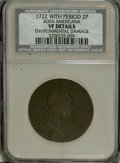1722 2PENCE Rosa Americana Twopence With Period--Environmental Damage--NCS. VF Details. NGC Census: (0/0). PCGS Populati...
