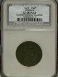 1723 1/2P Hibernia Halfpenny--Environmental Damage--NCS. XF Details. NGC Census: (0/0). PCGS Population (25/247). (#180)...