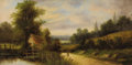 Fine Art - Painting, American:Antique  (Pre 1900), AMERICAN SCHOOL (19th Century). Landscape. Oil on canvas. 12x 24 inches (30.5 x 61.0 cm). Signed lower left: R. Gill...