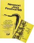 Music Memorabilia:Posters, Newport Jazz Festival Poster and Program (1965). Ol' Blues Eyeshimself, Frank Sinatra headlined this milestone event. Also ...(Total: 2 Item)