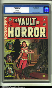Vault of Horror #23 Gaines File pedigree (EC, 1952) CGC NM/MT 9.8 Off-white pages. Overstreet 2002 NM 9.4 value = $425...