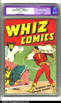 Whiz Comics #1 (Fawcett, 1940) CGC Apparent FN/VF 7.0 Slight (A) Off-white pages. Origin and first appearance Captain Ma...