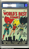 Golden Age (1938-1955):Superhero, World's Best Comics #1 (DC, 1941) CGC FN/VF 7.0 Cream to off-white pages. Fred Ray cover. Superman, Batman and Robin. Overs...