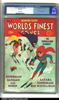 Golden Age (1938-1955):Superhero, World's Finest Comics #4 (DC, 1941) CGC VF- 7.5 Off-white pages. Overstreet 2002 VF 8.0 value = $1,591....