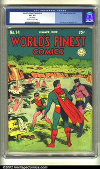 World's Finest Comics #14 (DC, 1944) CGC VG- 3.5 Off-white to white pages. Cover detached. Overstreet 2002 GD 2.0 value...