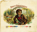 Antique Stone Lithography:Cigar Label Art, Davy Crockett Cigar Inner Label Proof,...