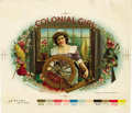 Antique Stone Lithography:Cigar Label Art, Colonial Girl Cigar Inner Label Proof by the AmericanLithographic Co., New York, 1899,...