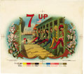 Antique Stone Lithography:Cigar Label Art, 7 Up Cigar Inner Label Proof by the American LithographicCo., New York,...