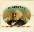 Antique Stone Lithography:Cigar Label Art, Gladstone Cigar Inner Label Proof,...