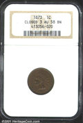Indian Cents: , 1873 1C CLOSED 3, BN