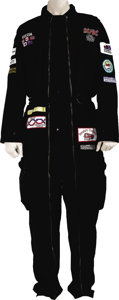 Music Memorabilia:Costumes, AC/DC Razor's Edge Tour Jumpsuit. A large black pit crew-style jumpsuit from the band's 1990-91 world tour, with sponsor pat... (Total: 1 Item)