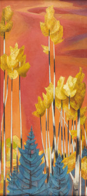 BILL BOMAR (1919-1990) Mountain Plumes, late 1930s - early 1940s Oil on linen 44in. x 20in. Unsigned, but documented