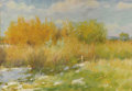 Western:20th Century, JOSEPH HENRY SHARP (American 1859-1953). Willows and Weeds, 1910. Oil on canvas board. 12 x 17 inches (30.5 x 43. 2 cm)...