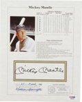 Autographs:Others, Mickey Mantle Autographed Statistics Sheet. This piece not onlydisplays a bold black ink signature from Mantle, but also t...