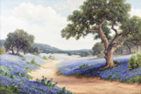 DOLLIE NABINGER (1905-1988) Untitled Bluebonnets and Oaks Oil on canvas 24in. x 36in. Signed lower right