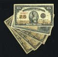 Canadian Currency: , Five Canadian Shinplasters.. DC-15b 25¢ 1900 VG. DC24c 25¢ 1923Four Examples VG.. ... (Total: 5 notes)