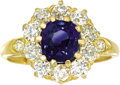 Estate Jewelry:Rings, Sapphire, Diamond, Gold Ring, Tiffany & Co.. The ring centers acushion-shaped sapphire measuring 7.50 - 6.50 x 4.70 mm, e...