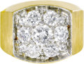 Estate Jewelry:Rings, Gentleman's Diamond, Gold Ring. The ring centers a roundbrilliant-cut diamond measuring 5.80 - 5.75 x 3.40 mm andweighin...