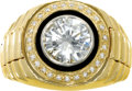 Estate Jewelry:Rings, Gentleman's Diamond, Onyx, Gold Ring. The ring centers a full-cut diamond measuring 8.45 - 8.40 x 4.80 mm and weighing app...
