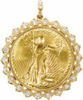 Estate Jewelry:Pendants and Lockets, Diamond, Gold Coin, Gold Pendant. The pendant centers a U.S. $20Liberty gold coin, dated 1927, framed by full-cut diamond...